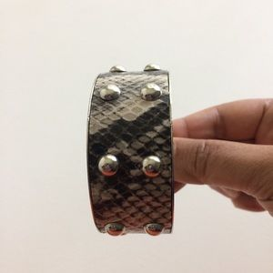 Snake Skin Bracelet On Silver With Metal Beads